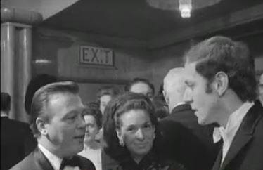 Matt Monro and John Barry at the premiere of Born Free. Mickey Monro in the centre