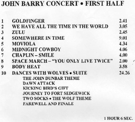 John Barry Royal Albert Hall Concert Programme 1