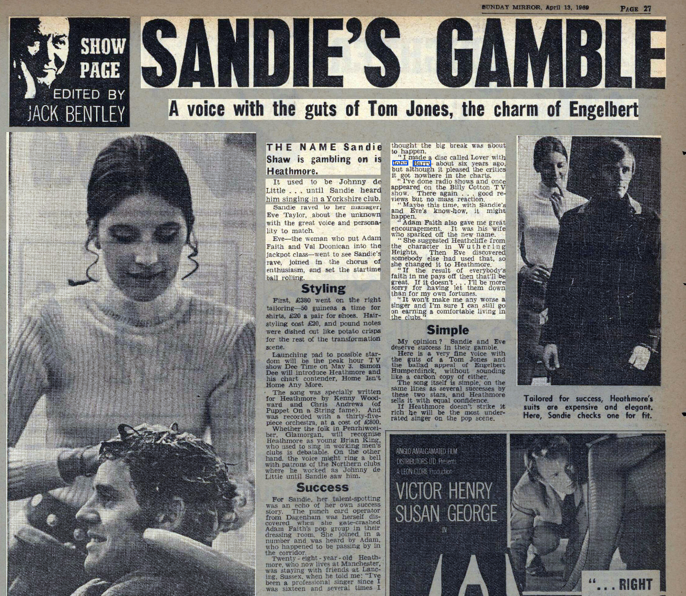 Screenshot 2020 06 14 San 1 Le's 1 Sunday Mirror Sunday 13 April 1969 British Newspaper Archive