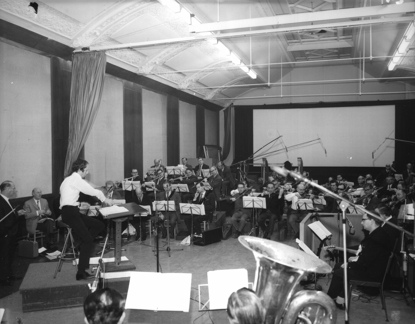 John Barry conducting the orchestra for You Only Live twice
