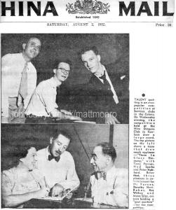 Terry Parsons (Matt Monro) and Ned Sparks at the Nine Dragons Club, Kowloon - 1952